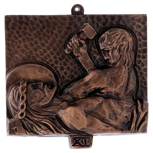 Cuadros estaciones Vía Crucis 15 piezas bronce martillado 11