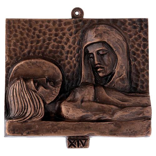 Cuadros estaciones Vía Crucis 15 piezas bronce martillado 14