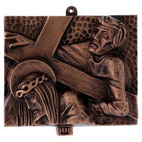 Stazioni Via Crucis 15 quadri bronzo martellato s3