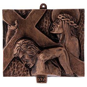 Stazioni Via Crucis 15 quadri bronzo martellato s5