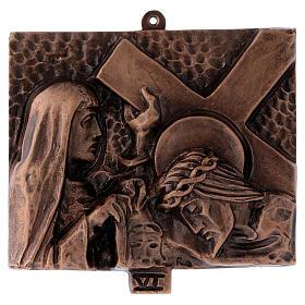 Stazioni Via Crucis 15 quadri bronzo martellato s6
