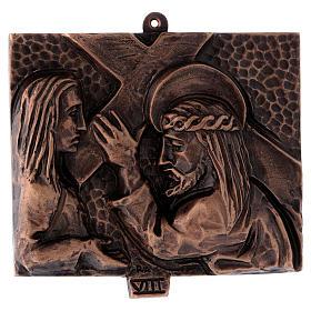 Stazioni Via Crucis 15 quadri bronzo martellato s8