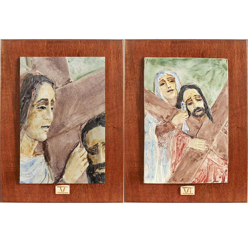 Vía Crucis 14 estaciones mayólica pastel madera cerezo 4