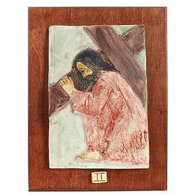 Via Crucis 14 stazioni maiolica pastello su legno ciliegio s2