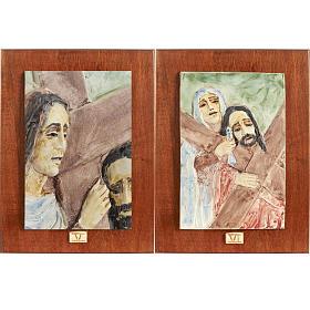Via Crucis 14 stazioni maiolica pastello su legno ciliegio s4