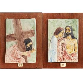Via Crucis 14 stazioni maiolica pastello su legno ciliegio s6