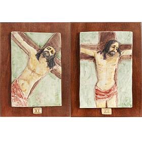 Via Crucis 14 stazioni maiolica pastello su legno ciliegio s7