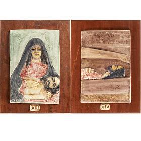 Via Crucis 14 stazioni maiolica pastello su legno ciliegio s8
