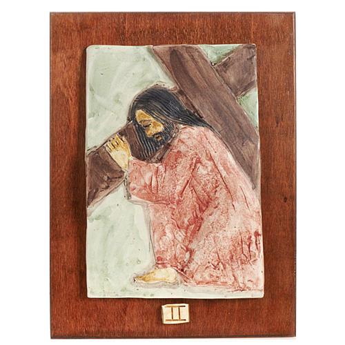 Via Crucis 14 stazioni maiolica pastello su legno ciliegio 2