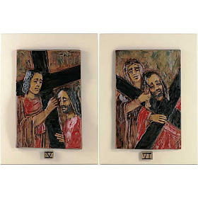 Via Crucis 14 stazioni maiolica cuoio su legno avorio s4