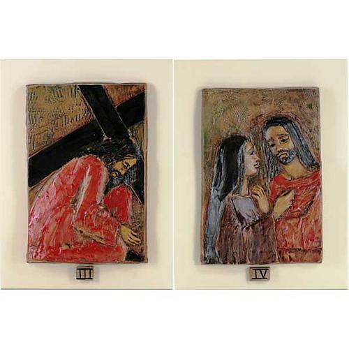 Via Crucis 14 stazioni maiolica cuoio su legno avorio 3