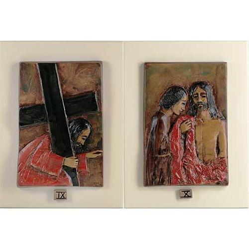 Via Crucis 14 stazioni maiolica cuoio su legno avorio 6