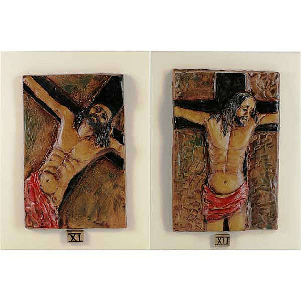 14 Stations of the Cross in majolica backed with wood 4
