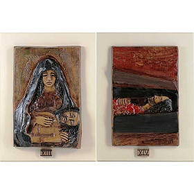 14 Stations of the Cross in majolica backed with wood s8
