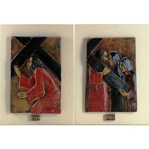 14 Stations of the Cross in majolica backed with wood 5