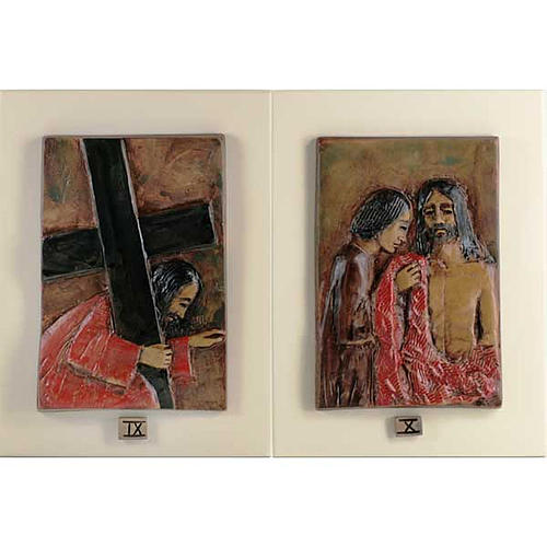 14 Stations of the Cross in majolica backed with wood 6