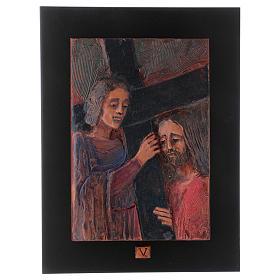 Vía Crucis 14 estaciones mayólica cuero sobre madera s6