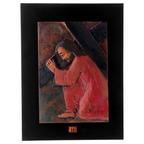 Vía Crucis 14 estaciones mayólica cuero sobre madera 3