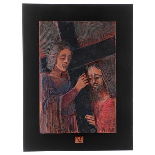 Vía Crucis 14 estaciones mayólica cuero sobre madera 6