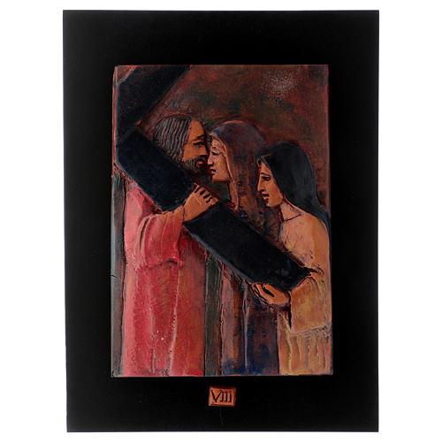 Vía Crucis 14 estaciones mayólica cuero sobre madera 9