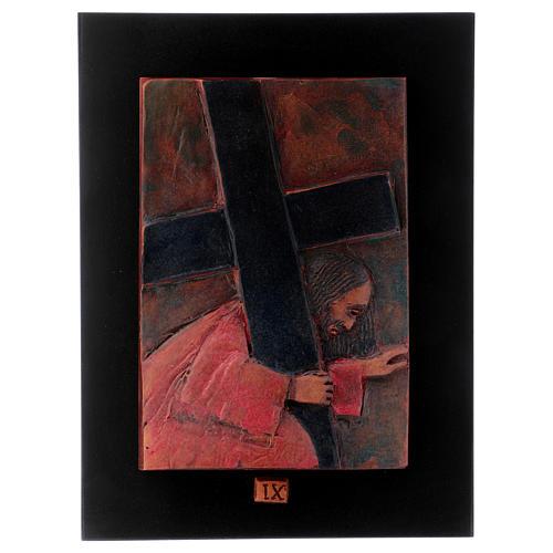 Vía Crucis 14 estaciones mayólica cuero sobre madera 10