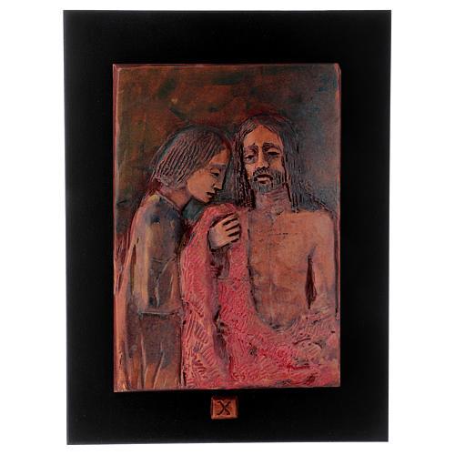 Vía Crucis 14 estaciones mayólica cuero sobre madera 11