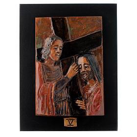 Via Crucis 14 stazioni maiolica cuoio su legno bruno s5