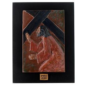 Via Crucis 14 stazioni maiolica cuoio su legno bruno s7