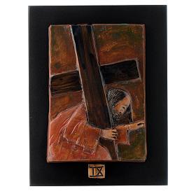 Via Crucis 14 stazioni maiolica cuoio su legno bruno s9
