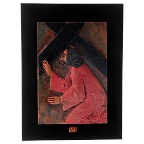 Via Crucis 14 stazioni maiolica cuoio su legno bruno s8
