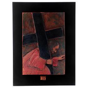 Via Crucis 14 stazioni maiolica cuoio su legno bruno s10