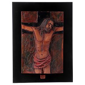 Via Crucis 14 stazioni maiolica cuoio su legno bruno s13