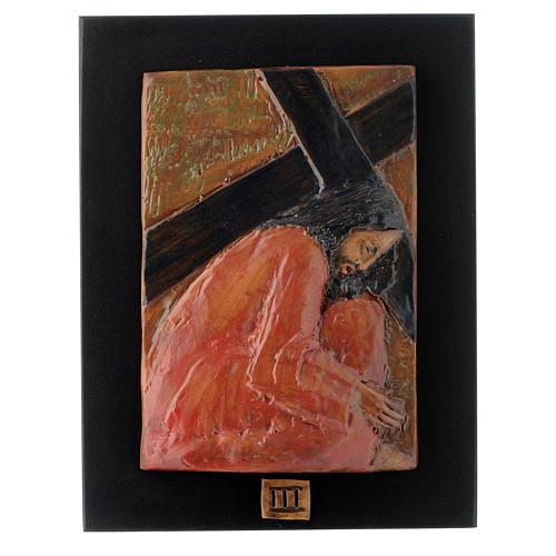Via Crucis 14 stazioni maiolica cuoio su legno bruno 3