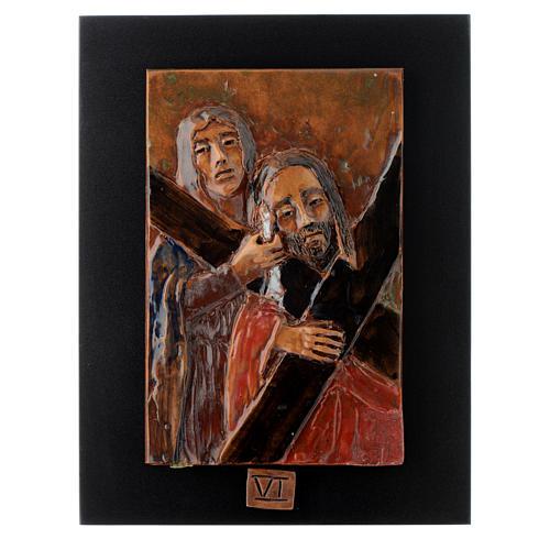Via Crucis 14 stazioni maiolica cuoio su legno bruno 6
