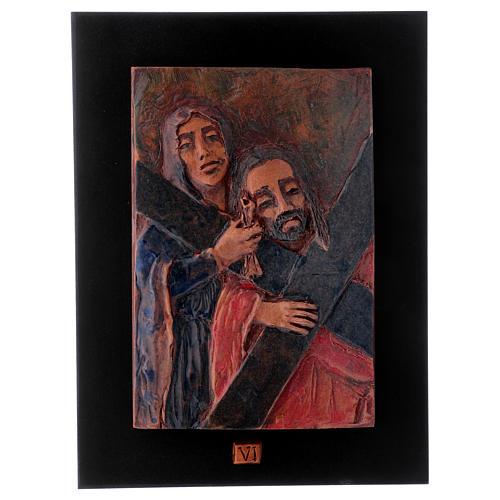 Via Crucis 14 stazioni maiolica cuoio su legno bruno 7