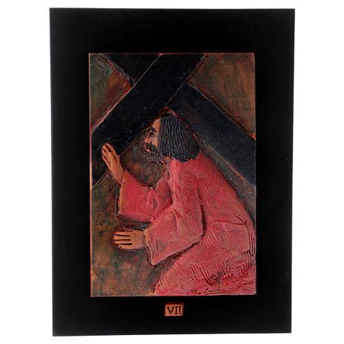 Via Crucis 14 stazioni maiolica cuoio su legno bruno 8
