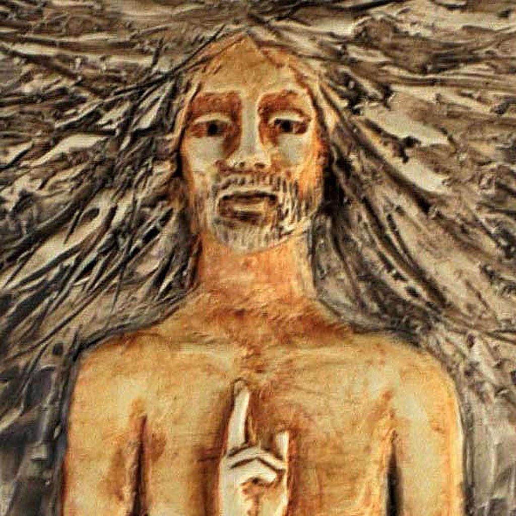 Christ ressuscité 15ème station, majolique sur bois cerisier 4