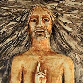 Christ ressuscité 15ème station, majolique sur bois cerisier s2