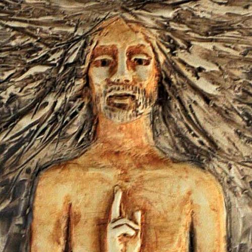 Christ ressuscité 15ème station, majolique sur bois cerisier 2