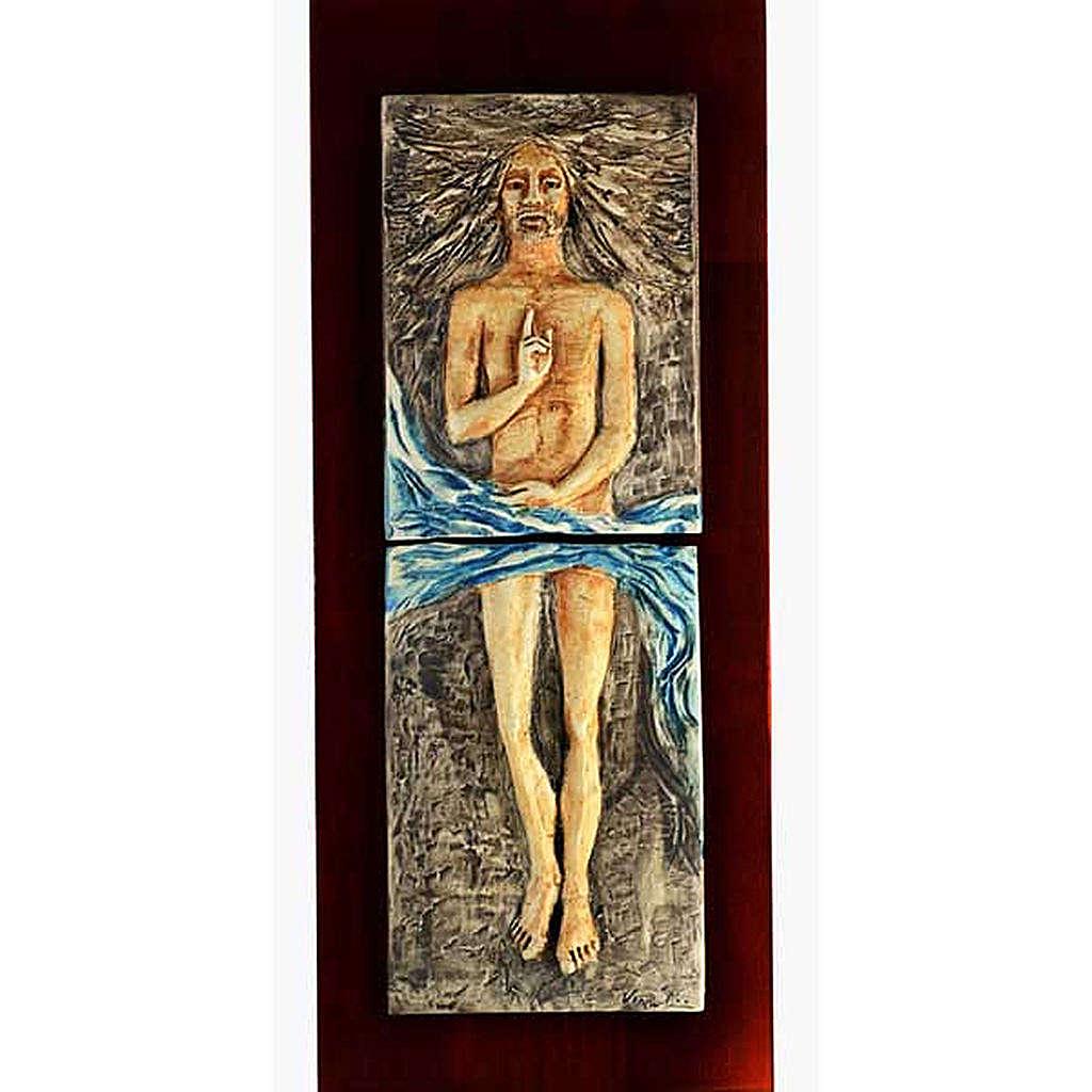 Cristo Risorto 15° stazione maiolica pastello su legno ciliegio 4