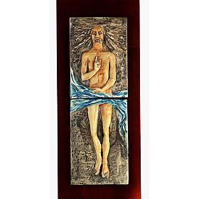 Cristo Risorto 15° stazione maiolica pastello su legno ciliegio s1
