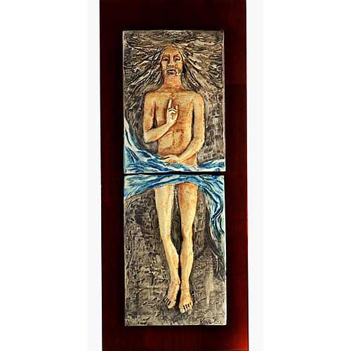 Cristo Risorto 15° stazione maiolica pastello su legno ciliegio 1