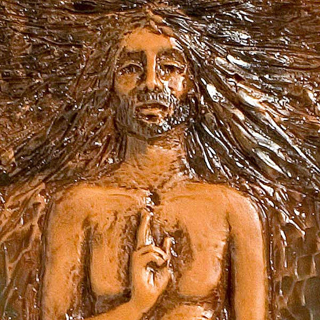 Jesucristo Resucitado 15° estación mayólica cuero madera parda 4