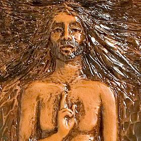 Jesucristo Resucitado 15° estación mayólica cuero madera parda s2