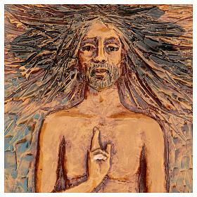 Christ ressuscité 15ème station, majolique sur bois foncé s2