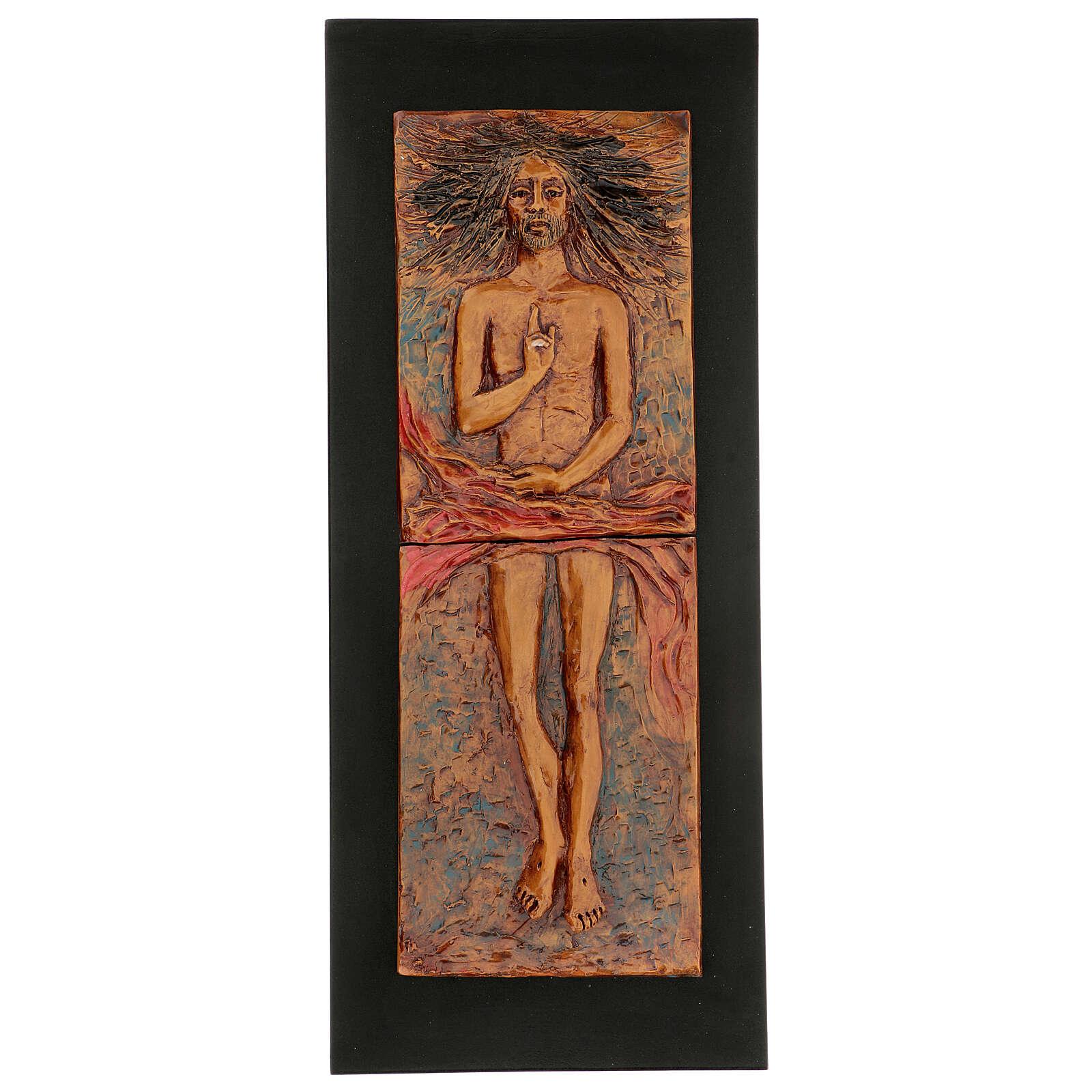 Cristo risorto 15° stazione maiolica cuoio su legno bruno 4