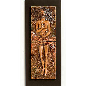 Cristo risorto 15° stazione maiolica cuoio su legno bruno s1