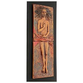 Cristo risorto 15° stazione maiolica cuoio su legno bruno s4