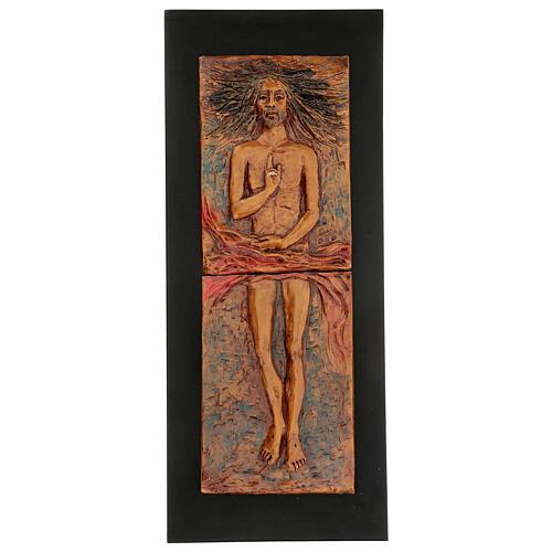 Cristo risorto 15° stazione maiolica cuoio su legno bruno 1