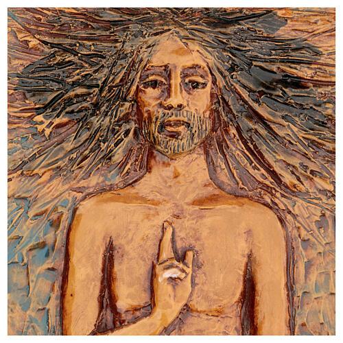 Cristo risorto 15° stazione maiolica cuoio su legno bruno 2